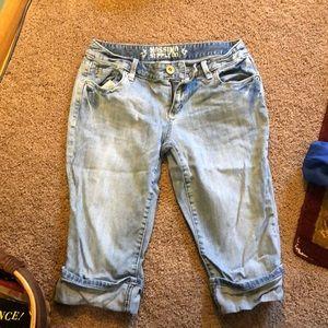 Denim cuffed Bermuda shorts